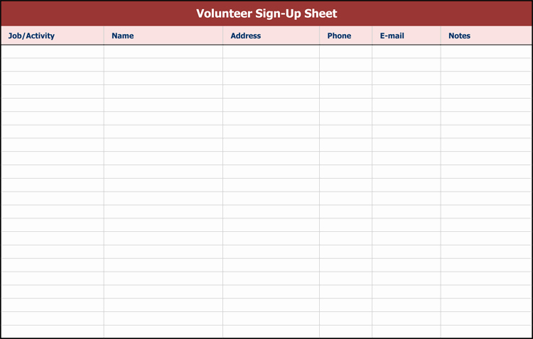 Sign Up Sheet Template Excel New 26 Free Sign Up Sheet Templates Excel & Word