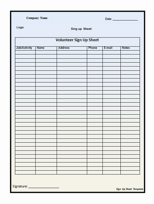 Sign Up Sheet Template Excel New Free Sign In Sign Up Sheet Templates Excel Word