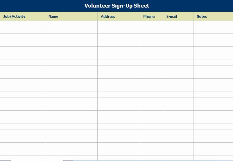 Sign Up Sheet Template Excel New Potluck Signup Sheet Template Excel