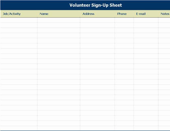 Sign Up Sheet Template Excel New Volunteer Sign Up Sheet