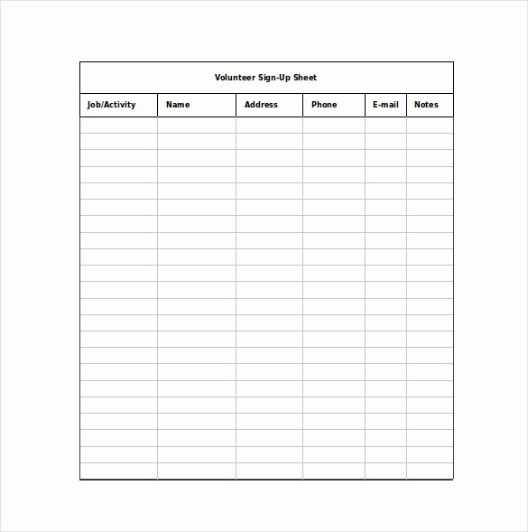 Sign Up Sheet Template Free Lovely Sign Up Sheet Templates