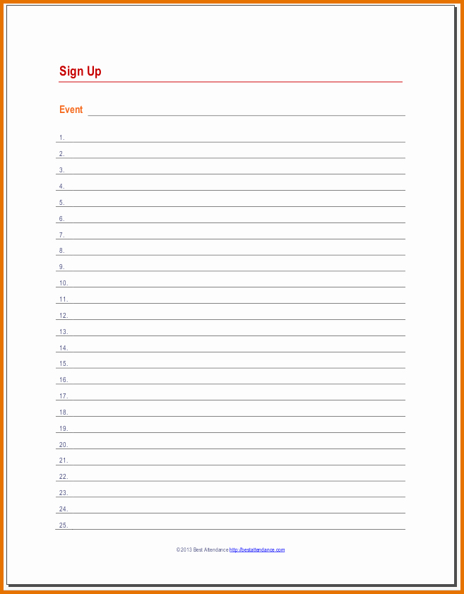 Sign Up Sheet Template Free New Free Signup Sheet Template