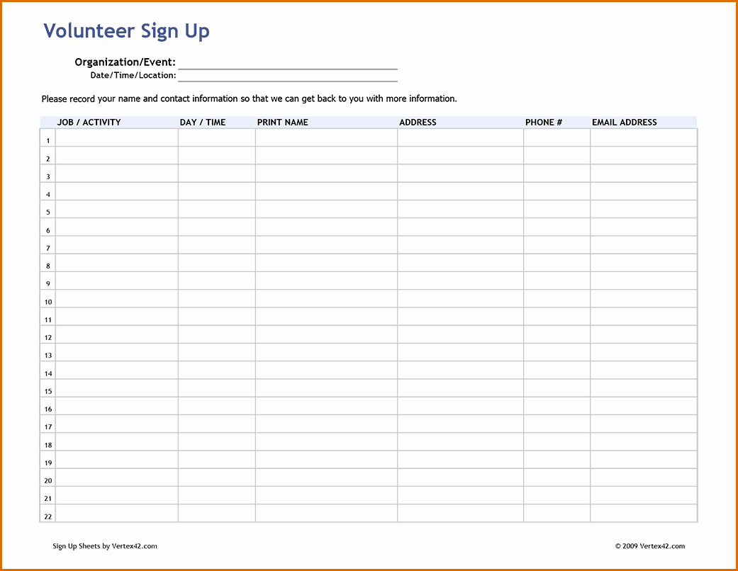 Sign Up Sheet Template Pdf Inspirational Signup Sheet Pdf