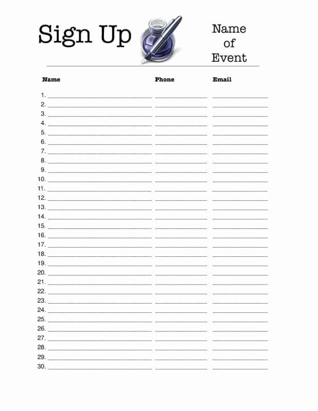 Sign Up Sheet Template Pdf New Sign Up Sheet Template