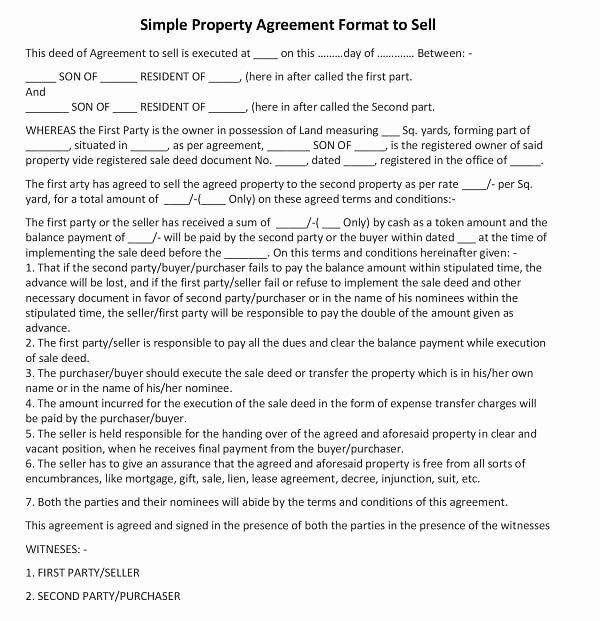 Simple Buy Sell Agreement Template New Simple Property Agreement format to Sell