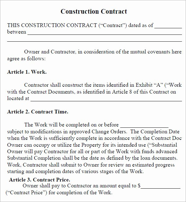 Simple Construction Contract Template Awesome 28 Of Basic Construction Contract Template