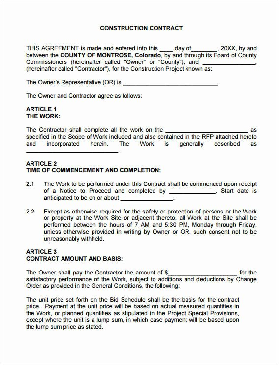 Simple Construction Contract Template New Construction Contract Pdf