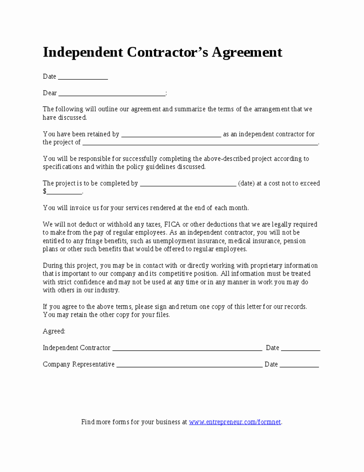 Simple Consulting Agreement Template Awesome Free Independent Contractor Agreement form Download