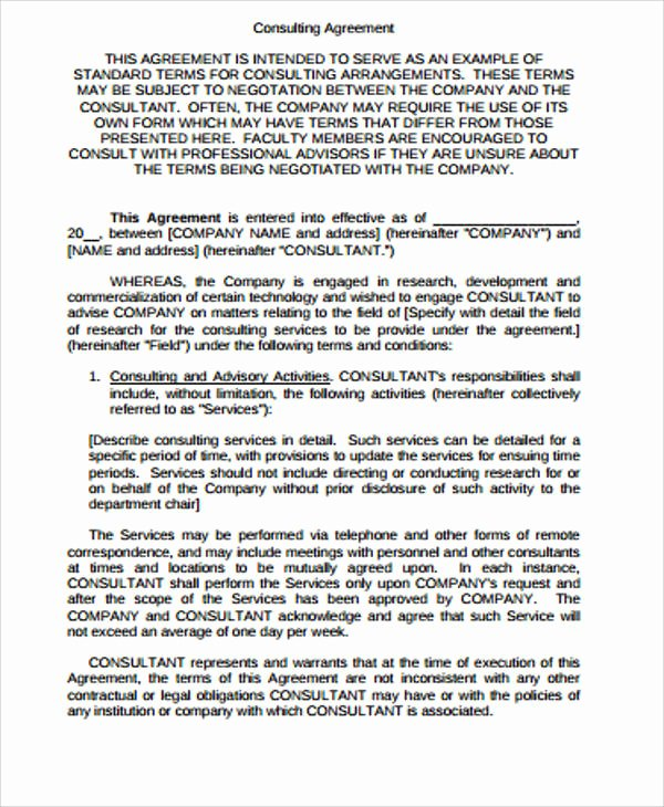 Simple Consulting Agreement Template Best Of Simple Consulting Agreement Sample 13 Examples In Word Pdf