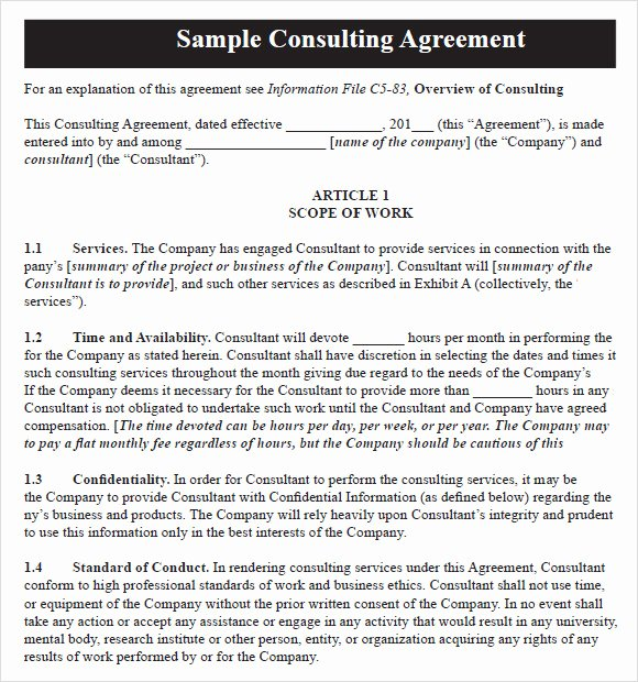 Simple Consulting Agreement Template Lovely Sample Consulting Agreement 14 Documents In Pdf Word