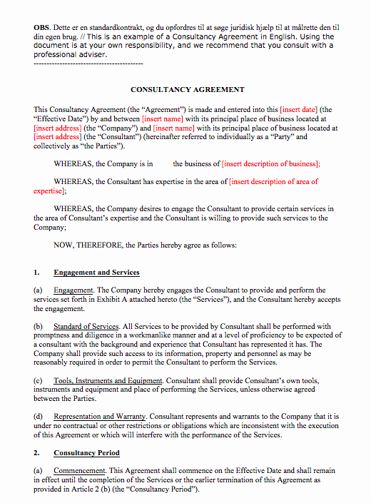 Simple Consulting Contract Template Beautiful Simple Consulting Agreement Template