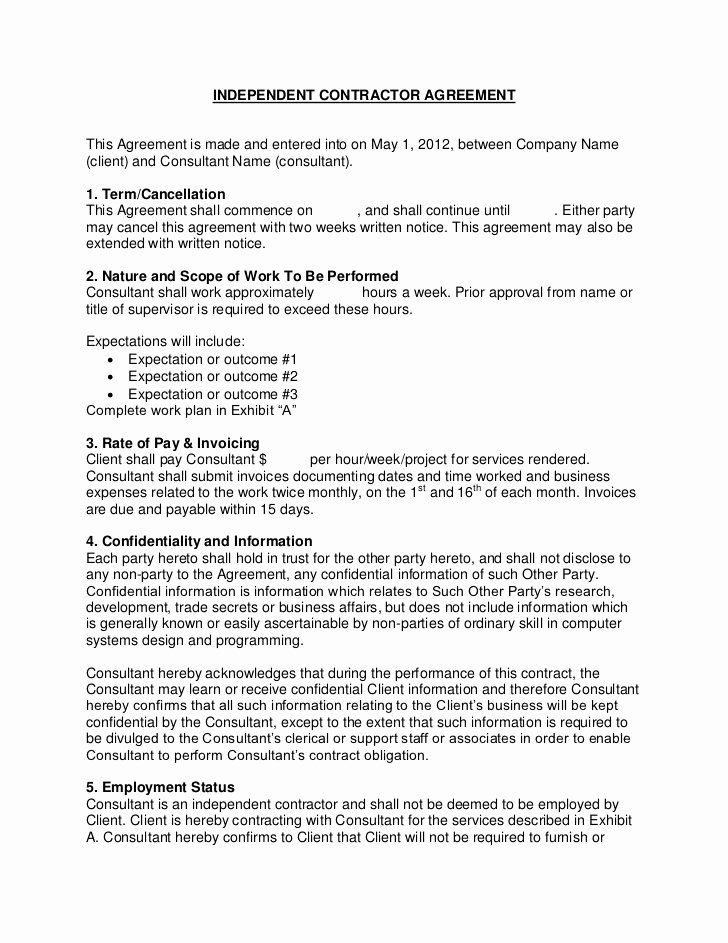 Simple Consulting Contract Template Best Of Flevy Sample Consulting Contract