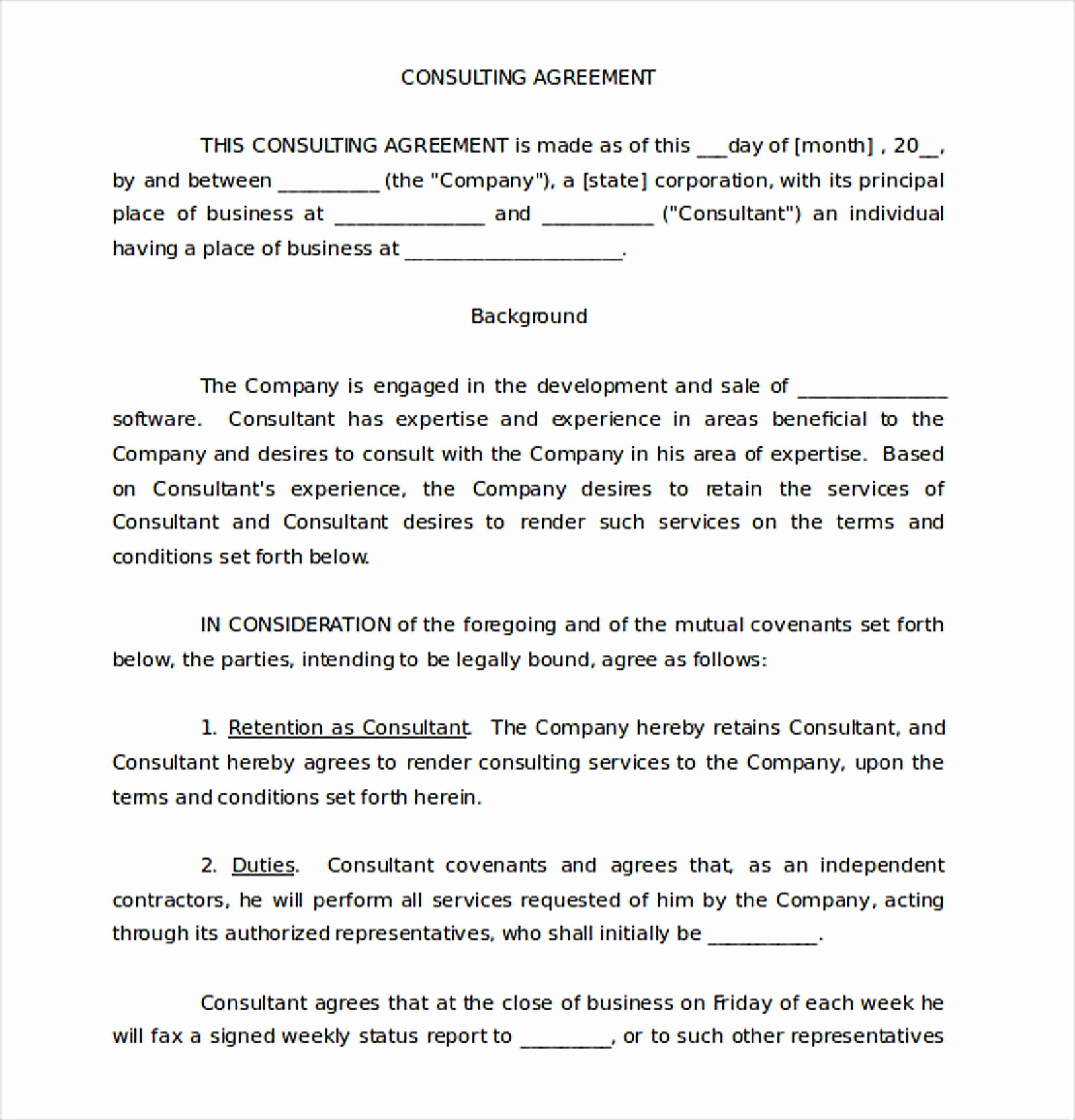 Simple Consulting Contract Template Inspirational 9 Consulting Agreement Template
