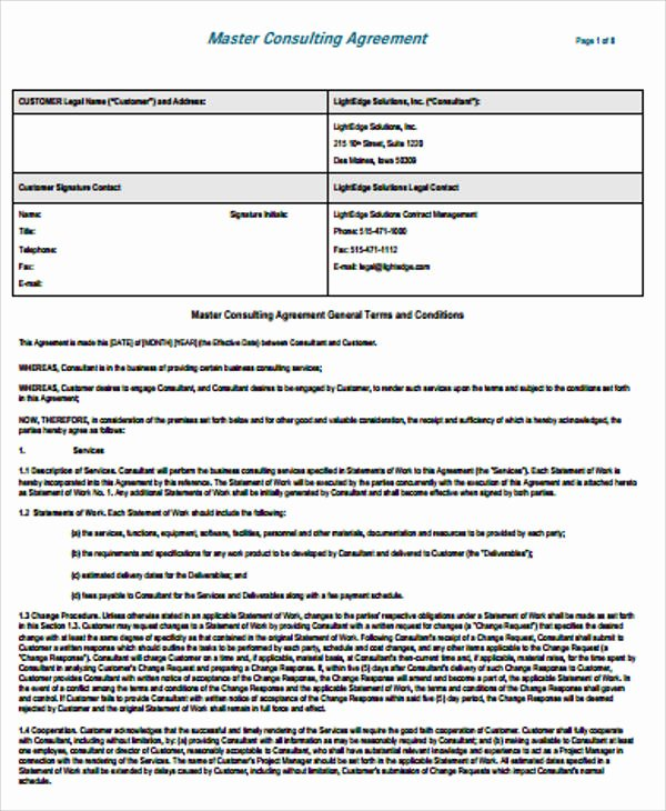 Simple Consulting Contract Template Inspirational Simple Consulting Agreement Sample 13 Examples In Word Pdf