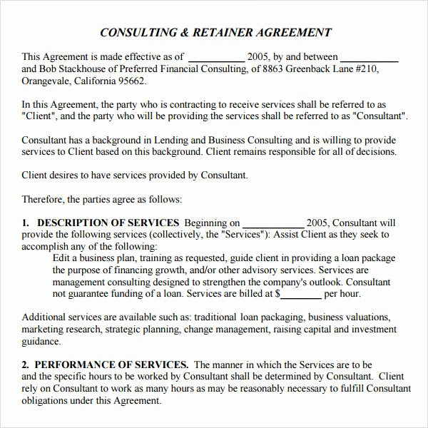 Simple Consulting Contract Template New Free 10 Sample Retainer Agreement Templates In Google
