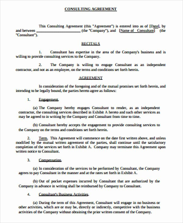 Simple Consulting Contract Template New Simple Consulting Agreement Sample 13 Examples In Word Pdf