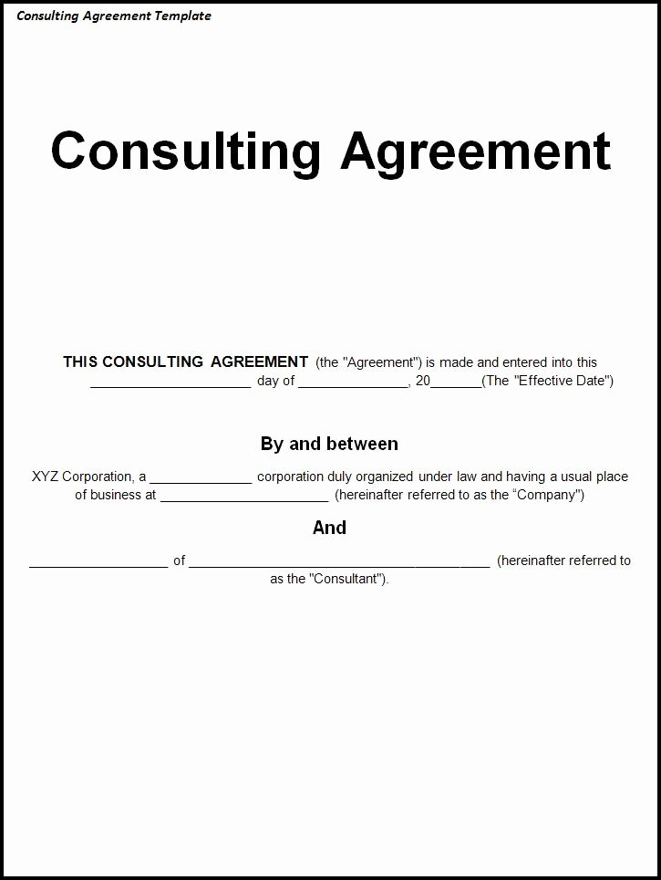 Simple Consulting Contract Template New Simple Consulting Agreement Template