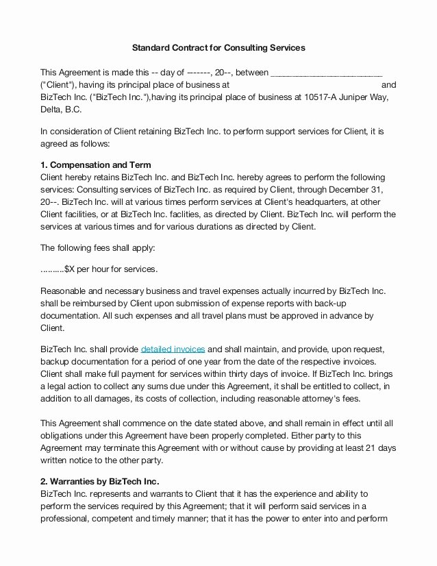 Simple Consulting Contract Template Unique Basic Consultants Agreement Template