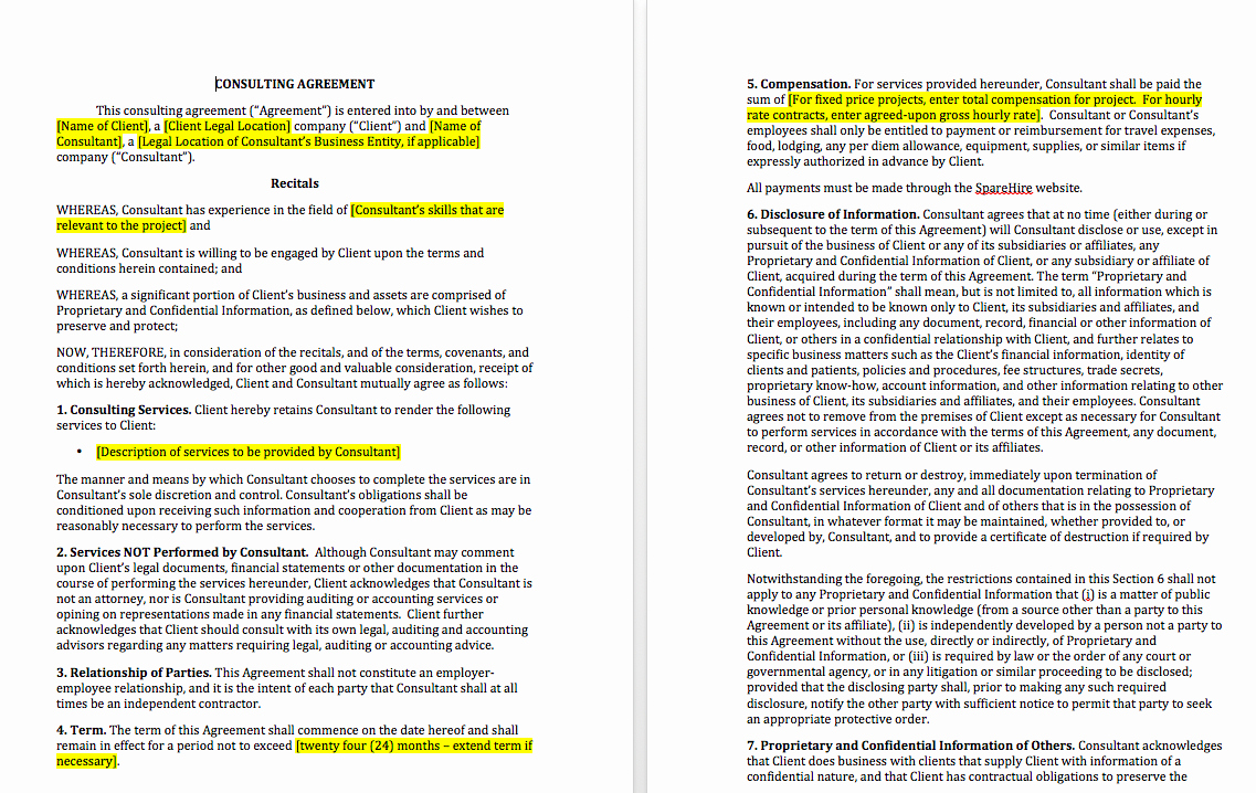 Simple Consulting Contract Template Unique Simple Consulting Agreement Template