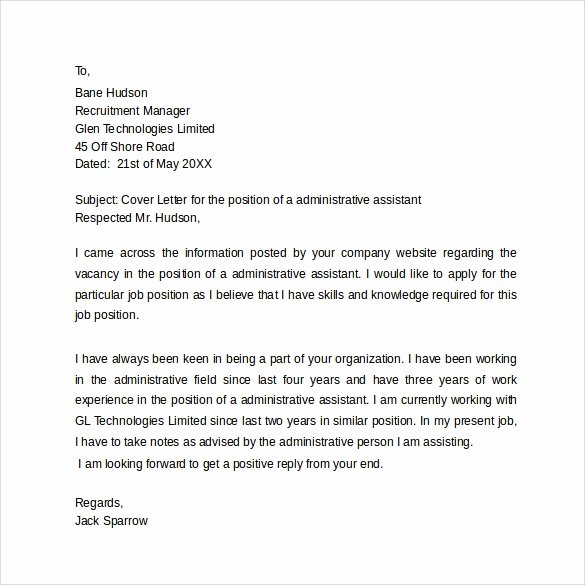 Simple Cover Letter Template Word Beautiful Sample Administrative assistant Cover Letter Template 8