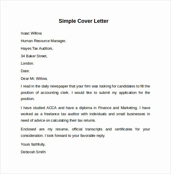 Simple Cover Letter Template Word Best Of 8 Sample Cover Letter Templates to Download