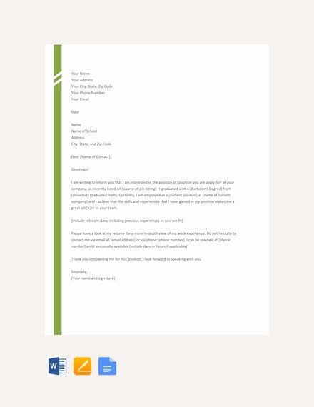 Simple Cover Letter Template Word Elegant Free 54 Application Letter Examples & Samples In Editable