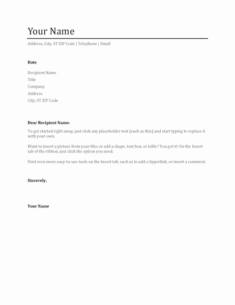Simple Cover Letter Template Word Fresh Simple Cover Letter Fice Templates