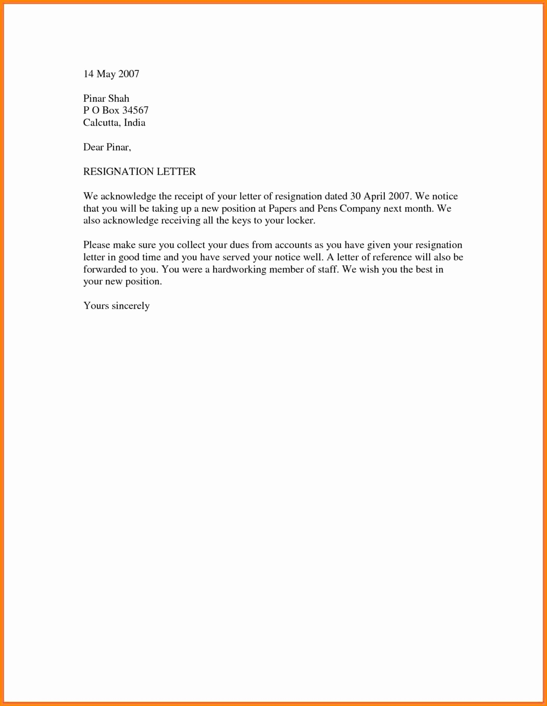 Simple Cover Letter Template Word Luxury 10 Official Resignation Letter Sample