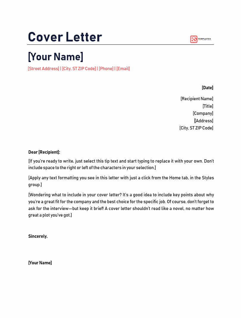 Simple Cover Letter Template Word New Free Cover Letter Template for Job Resume Cv In Word Example