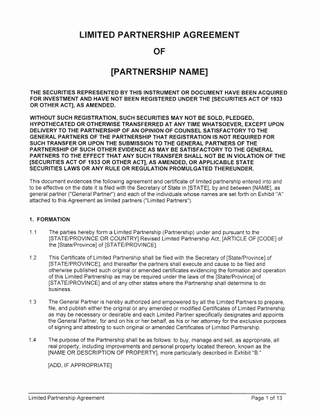Simple Partnership Agreement Template Beautiful 10 Limited Partnership Agreement Templates Pdf Word