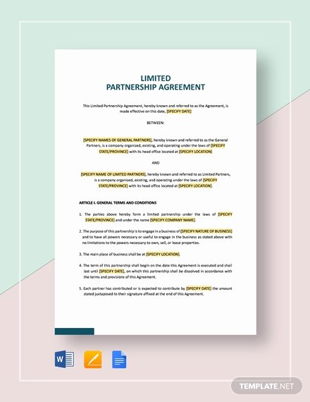 Simple Partnership Agreement Template Best Of Limited Partnership Agreement Template Word