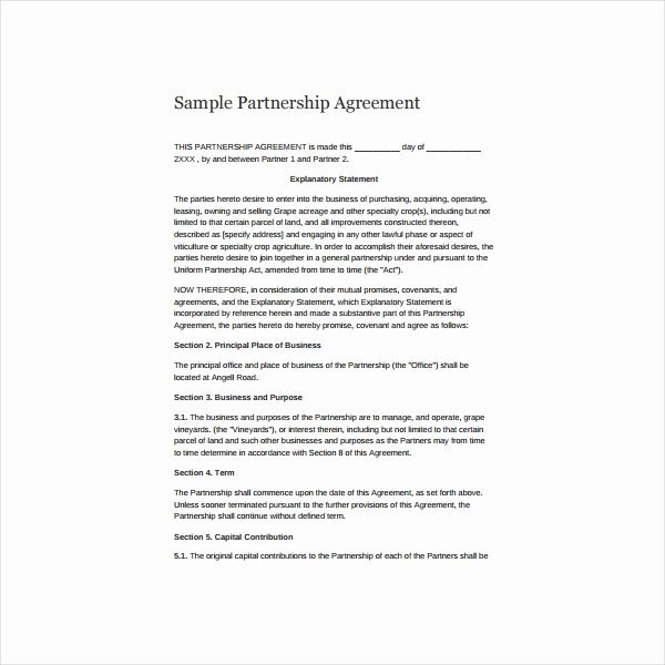 Simple Partnership Agreement Template Fresh 11 Simple Partnership Agreement Templates Samples