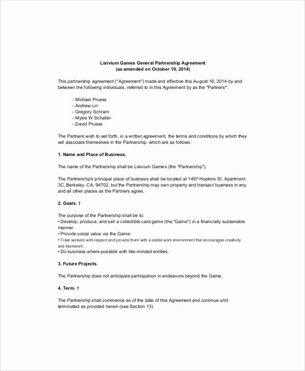 Simple Partnership Agreement Template Fresh Simple Business Partnership Agreement 7 Examples In