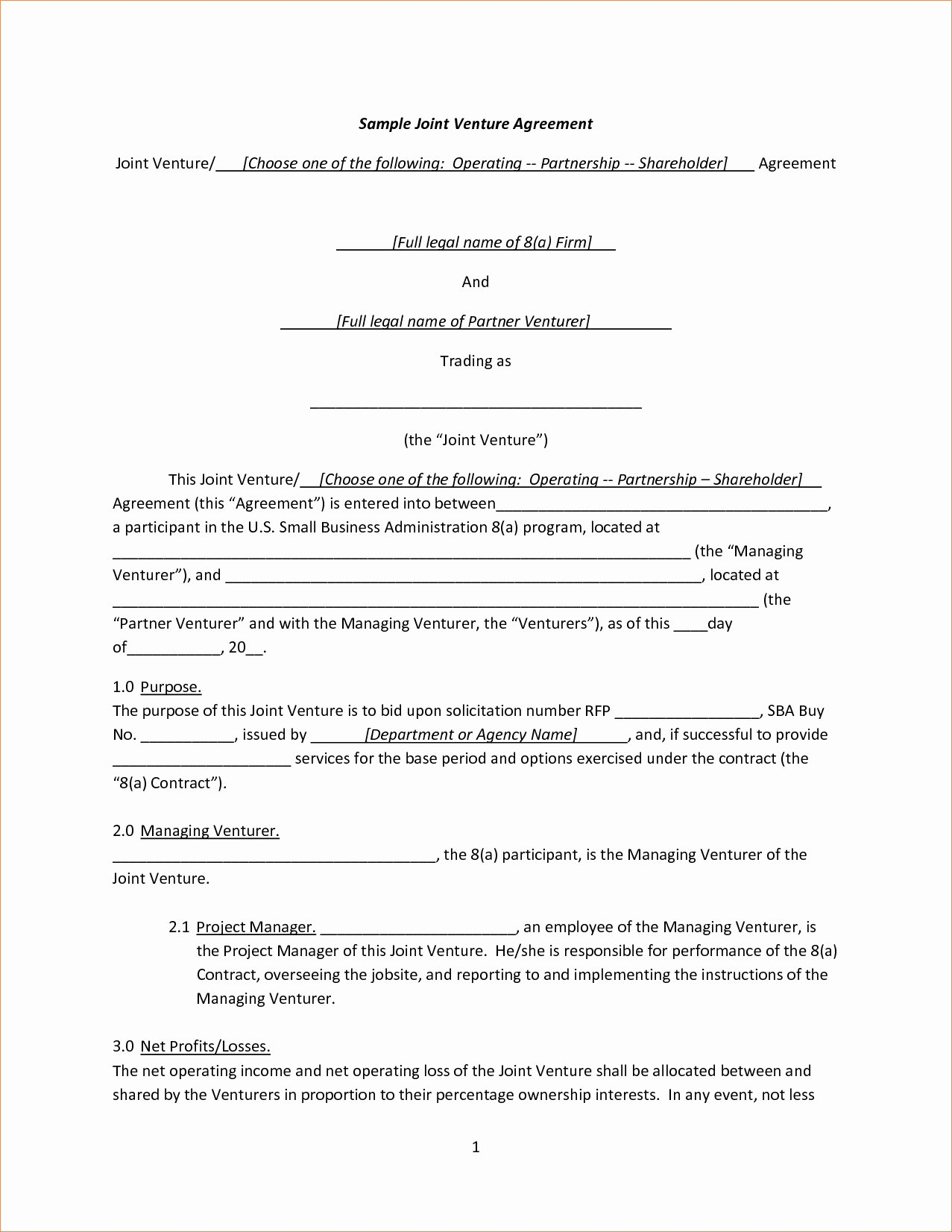 Simple Partnership Agreement Template Inspirational Joint Venture Agreement Template Pdf