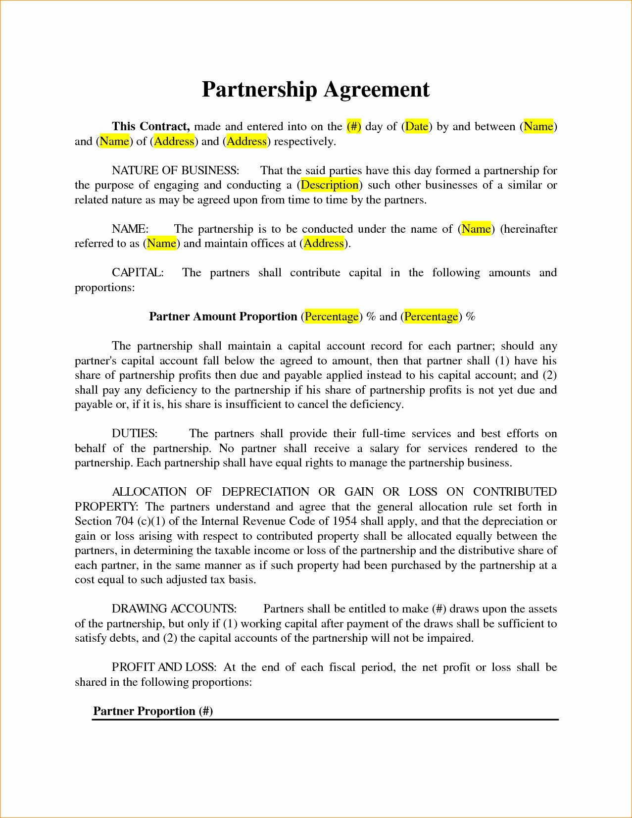 Simple Partnership Agreement Template Lovely 3 Simple Partnership Agreement Template