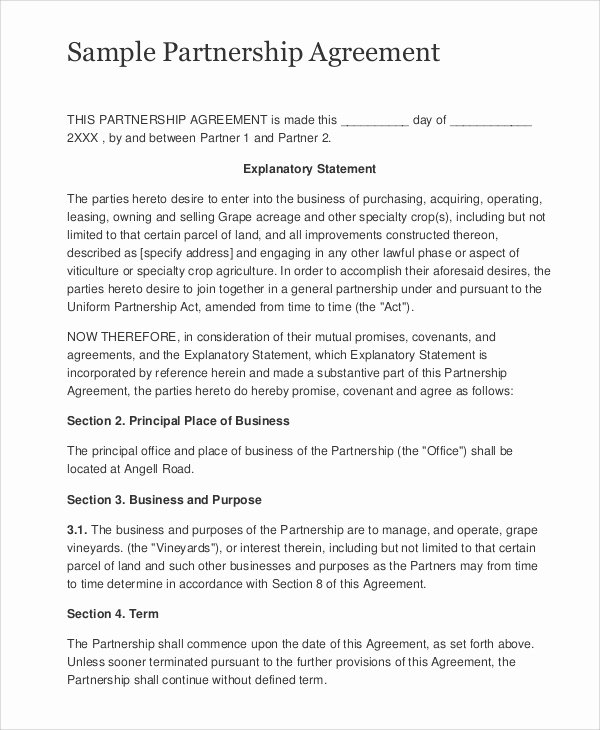 Simple Partnership Agreement Template Lovely Sample Business Partnership Contract 10 Documents In