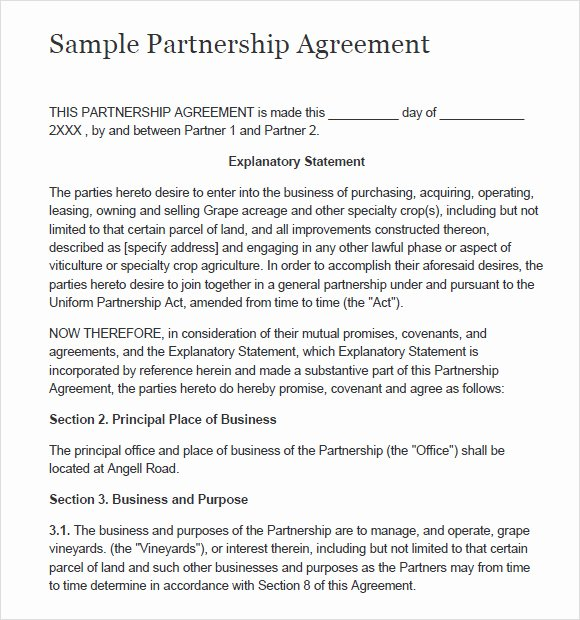 Simple Partnership Agreement Template Lovely Sample Partnership Agreement 15 Documents In Pdf Word