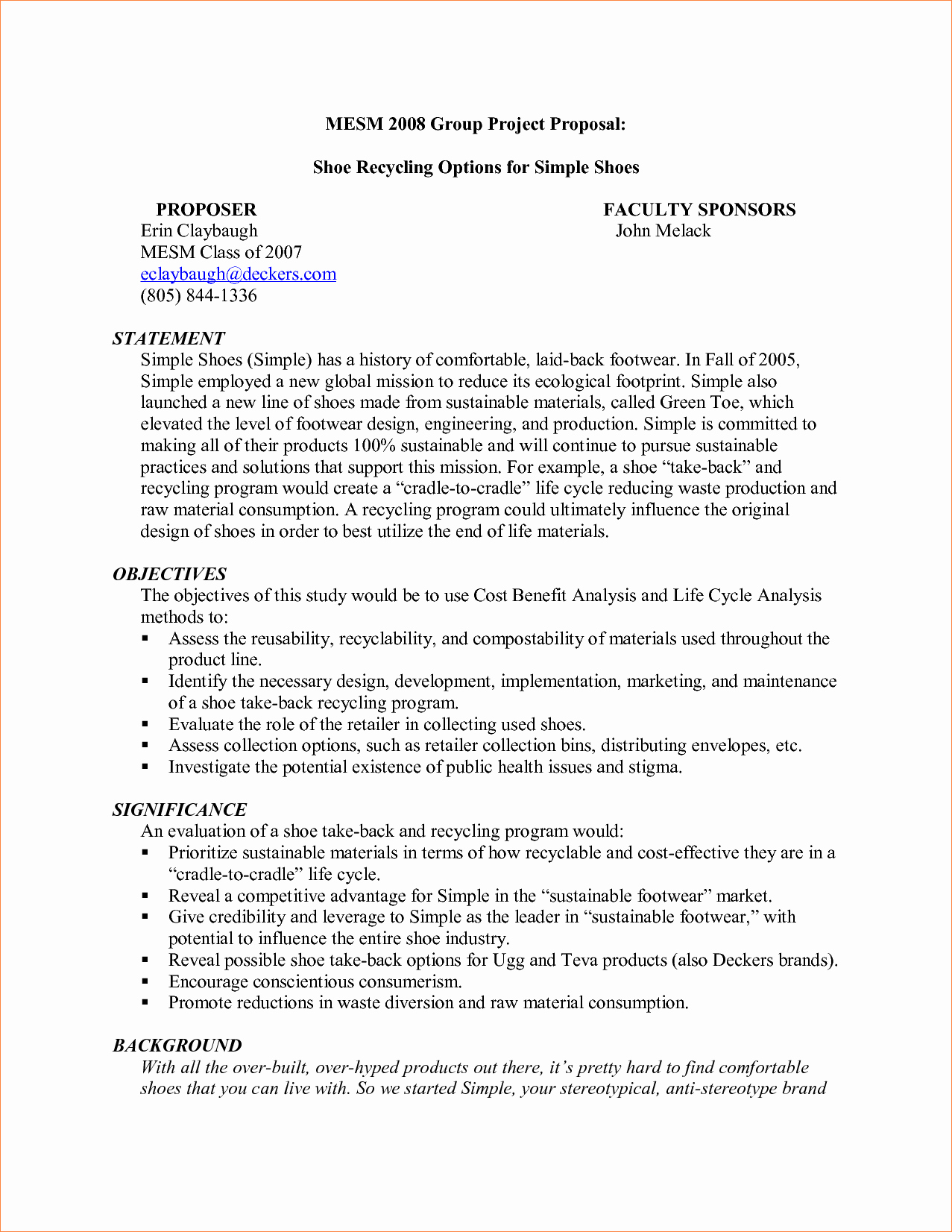 Simple Project Proposal Template Beautiful Simple Project Proposal Example