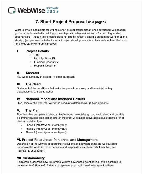 Simple Project Proposal Template Fresh Free 43 Simple Proposal formats Examples In Pdf