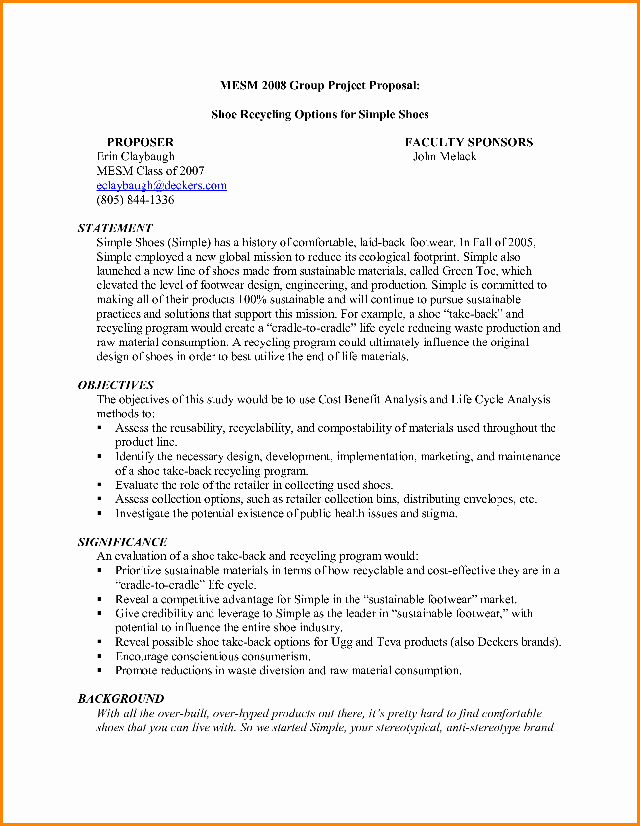 Simple Project Proposal Template Inspirational 7 Simple Project Proposal Template