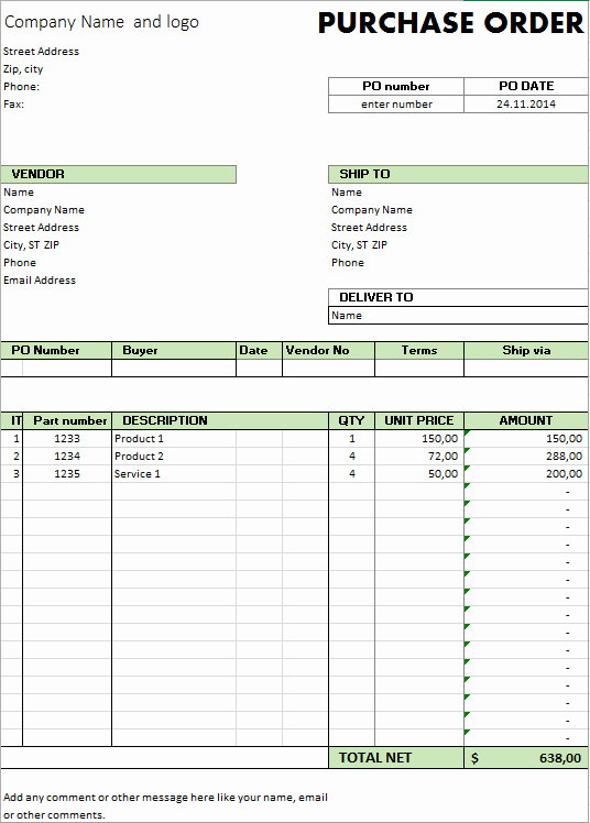 Simple Purchase order Template Fresh Excel Template Free Purchase order Template for