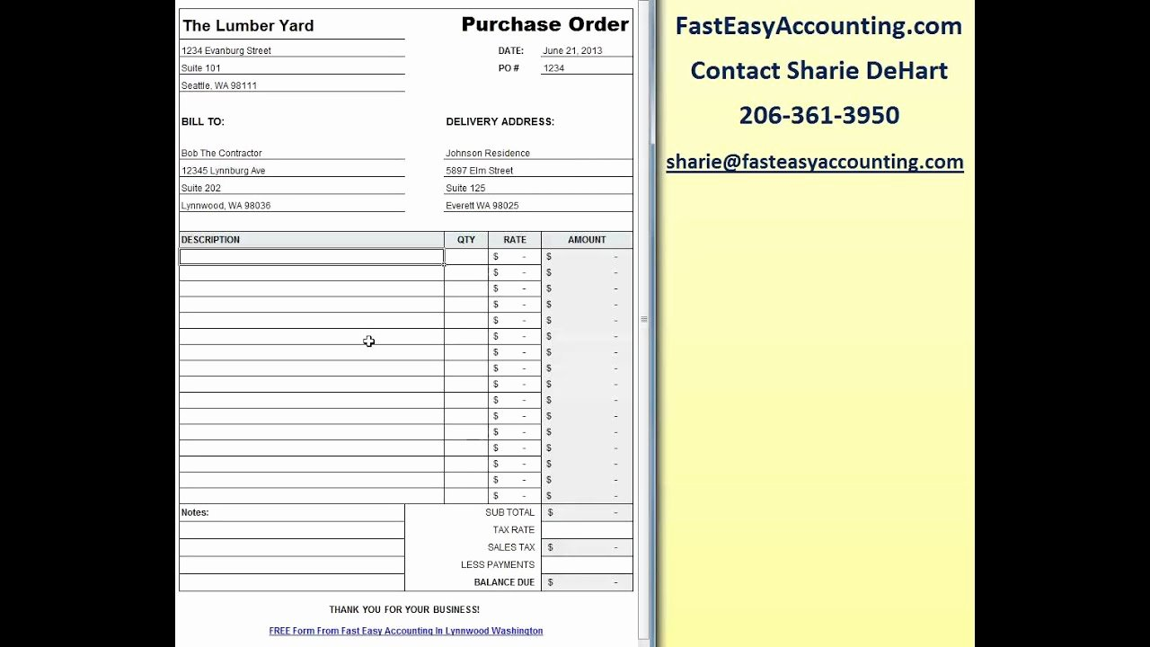 Simple Purchase order Template Inspirational Free Contractor Purchase order Template Excel Download