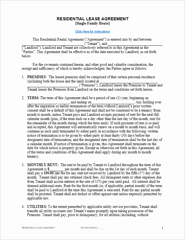 Simple Rental Agreement Template Word Best Of Free Residential Lease Agreement Template for Word by