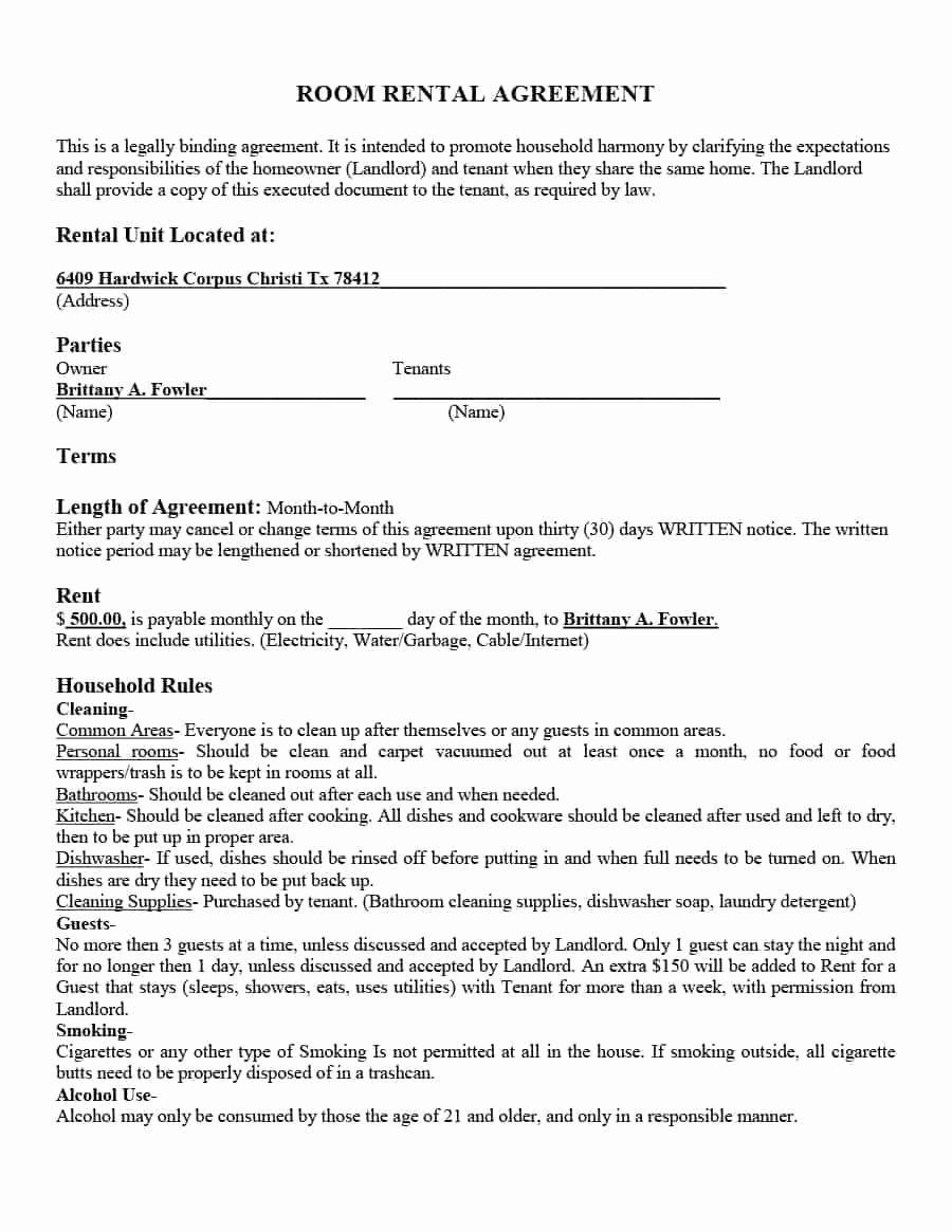 Simple Rental Agreement Template Word Best Of Room Lease Agreement Sample Last 39 Simple Room Rental