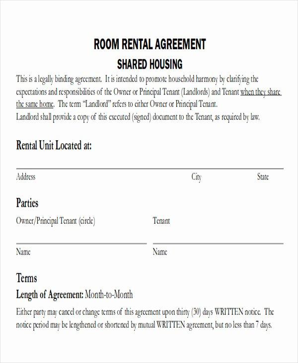 Simple Rental Agreement Template Word New 8 Room Rental Agreement form Sample Examples In Word Pdf