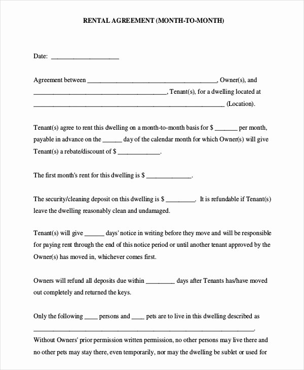 Simple Rental Agreement Template Word Unique Simple Month to Month Rental Agreement