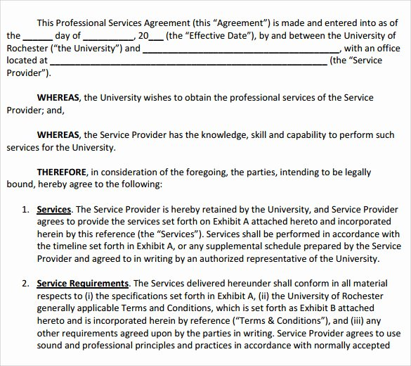 Simple Service Agreement Template Awesome Sample Professional Services Agreement 12 Free In Pdf Word