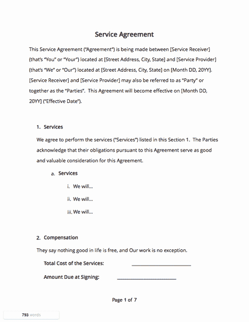 Simple Service Agreement Template Lovely Contract Templates and Agreements with Free Samples