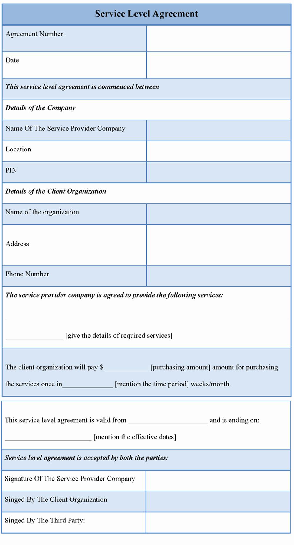 Simple Service Agreement Template Unique Service Level Agreement Template