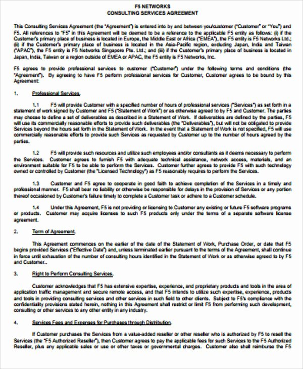 Simple Service Agreement Template Unique Simple Consulting Agreement Sample 13 Examples In Word Pdf